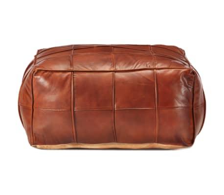 vidaXL Pufas, gelsvai rudas, 60x60x30cm, tikra ožkos oda[2/5]