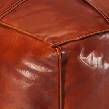 vidaXL Pufas, gelsvai rudas, 60x60x30cm, tikra ožkos oda[4/5]