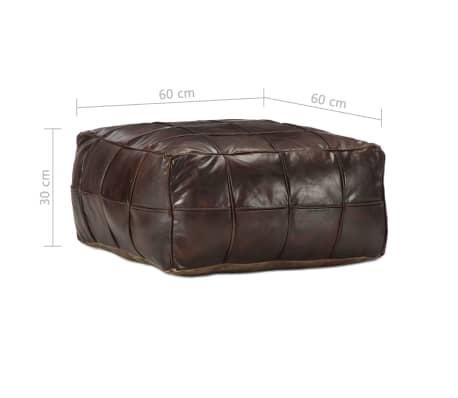 vidaXL Pufas, tamsiai rudos spalvos, 60x60x30 cm, tikra ožkos oda[4/4]