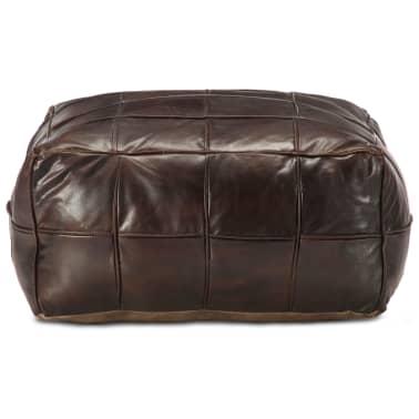 vidaXL Pufas, tamsiai rudos spalvos, 60x60x30 cm, tikra ožkos oda[2/4]