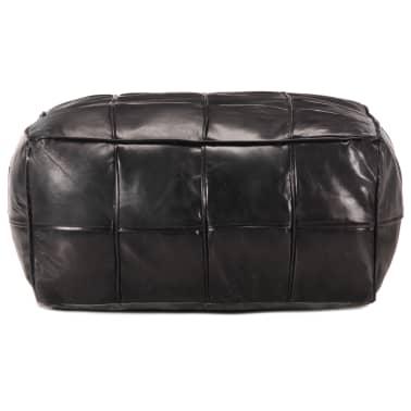vidaXL Pufas, juodos spalvos, 60x60x30 cm, tikra ožkos oda[2/4]