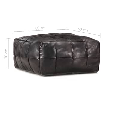 vidaXL Pufas, juodos spalvos, 60x60x30 cm, tikra ožkos oda[4/4]
