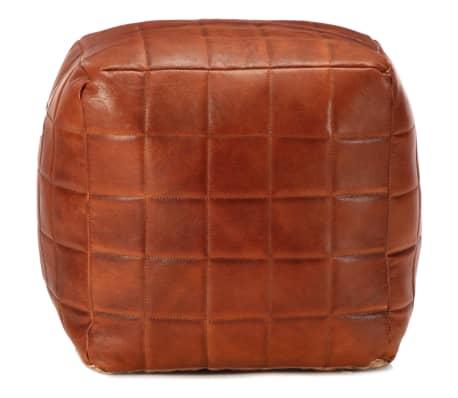 vidaXL Pufas, gelsvai rudos spalvos, 40x40x40 cm, tikra ožkos oda[2/4]