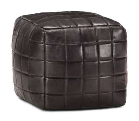 vidaXL Pufas, juodos spalvos, 40x40x40cm, tikra ožkos oda