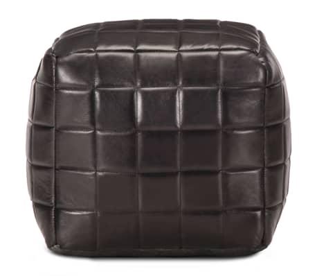 vidaXL Pufas, juodos spalvos, 40x40x40cm, tikra ožkos oda[2/5]