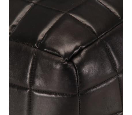 vidaXL Pufas, juodos spalvos, 40x40x40cm, tikra ožkos oda[4/5]