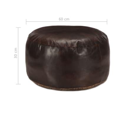 vidaXL Pufas, tamsiai rudos spalvos, 60x30 cm, tikra ožkos oda[3/3]