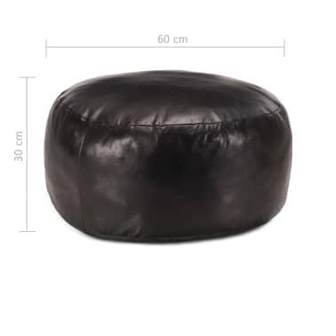 vidaXL Pufas, juodos spalvos, 60x30 cm, tikra ožkos oda[3/3]