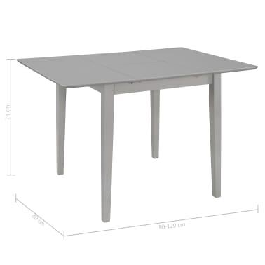 vidaXL Eettafel verlengbaar (80-120)x80x74 cm MDF grijs[6/6]