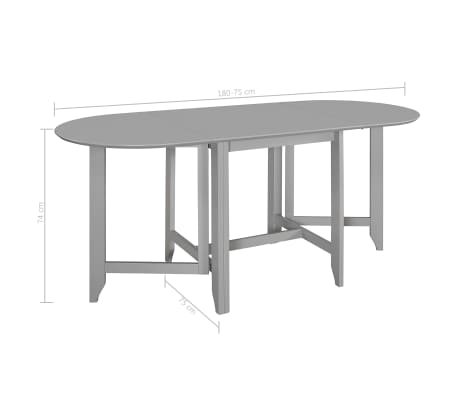 vidaXL Table à dîner extensible Gris (75-180) x 75 x 74 cm MDF[6/6]