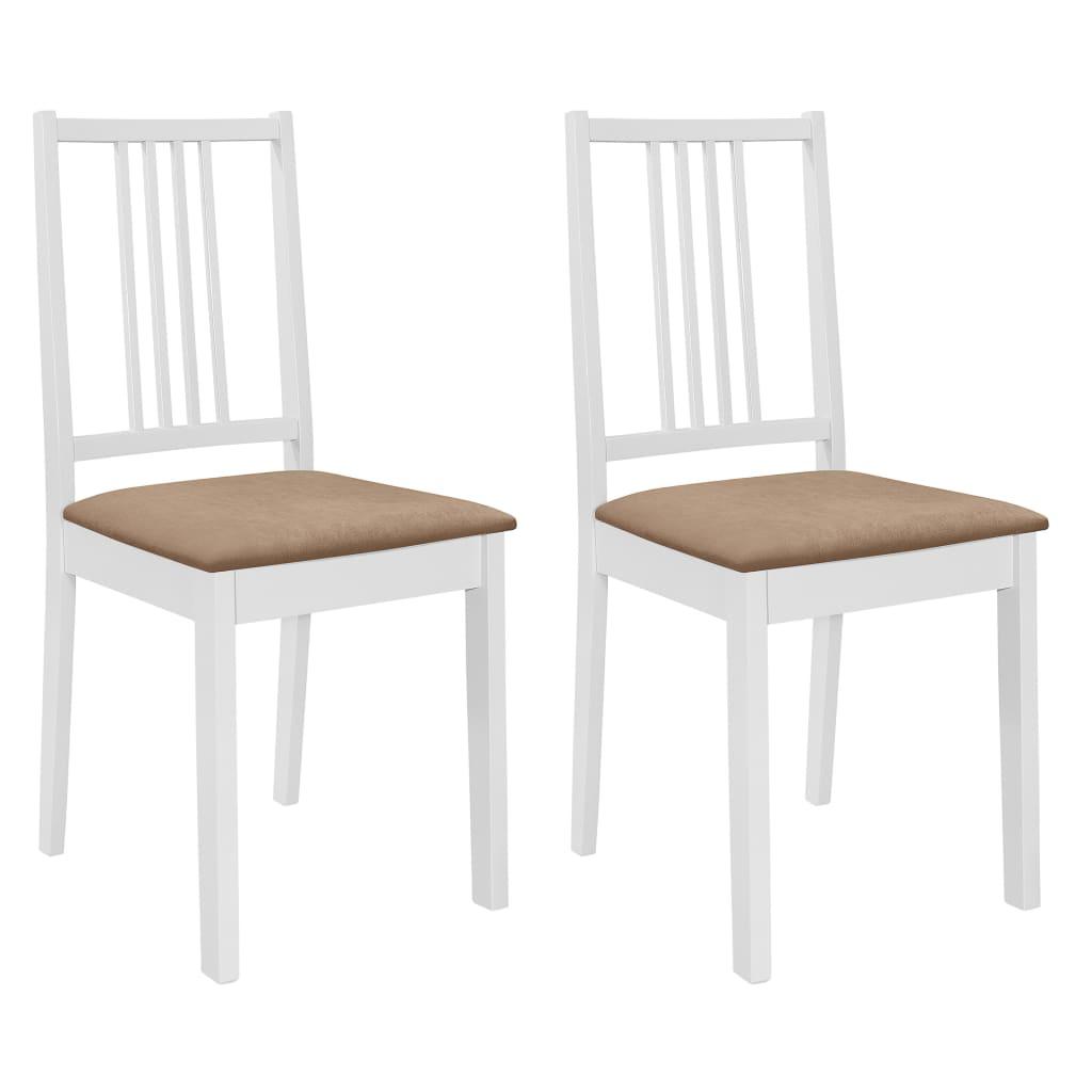 vidaXL Καρέκλες Τραπεζαρίας με Μαξιλάρια 2 τεμ. Λευκές από Μασίφ Ξύλο