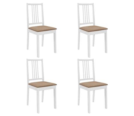 vidaXL Sillas de comedor con cojines madera maciza blanca 4 unidades[1/7]