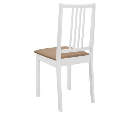 vidaXL Sillas de comedor con cojines madera maciza blanca 4 unidades[5/7]