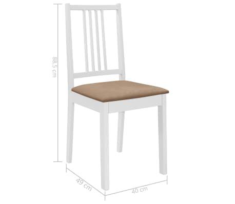 vidaXL Sillas de comedor con cojines madera maciza blanca 4 unidades[7/7]