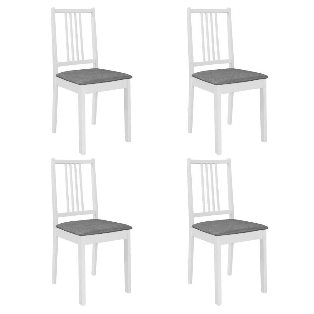 vidaXL Καρέκλες Τραπεζαρίας με Μαξιλάρια 4 τεμ. Λευκές από Μασίφ Ξύλο