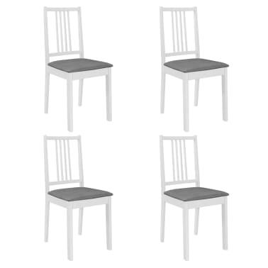 vidaXL Scaune de bucătărie cu perne, 4 buc., alb, lemn masiv[1/7]