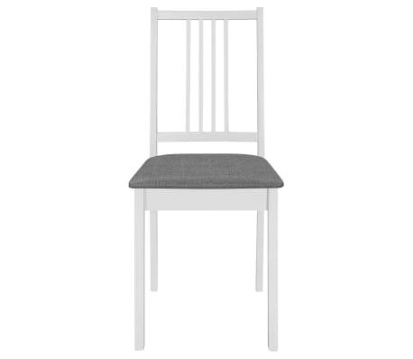 vidaXL Scaune de bucătărie cu perne, 4 buc., alb, lemn masiv[3/7]