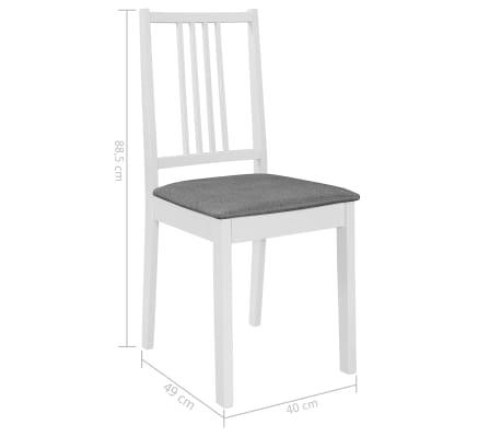vidaXL Scaune de bucătărie cu perne, 4 buc., alb, lemn masiv[7/7]