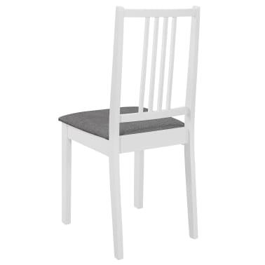 vidaXL Scaune de bucătărie cu perne, 4 buc., alb, lemn masiv[5/7]