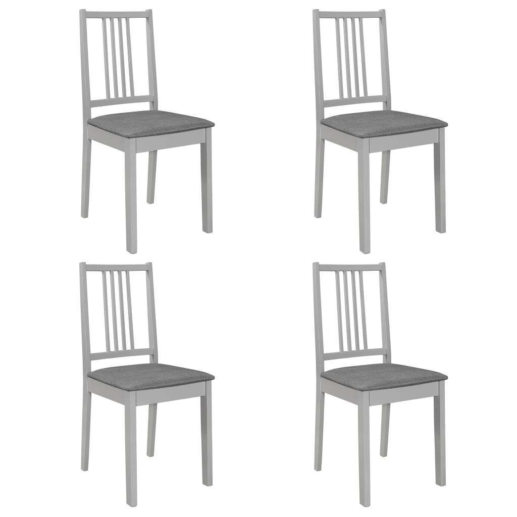 vidaXL Καρέκλες Τραπεζαρίας με Μαξιλάρια 4 τεμ. Γκρι από Μασίφ Ξύλο