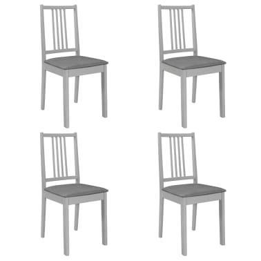 vidaXL Krzesła z poduszkami, 4 szt., szare, lite drewno[1/7]