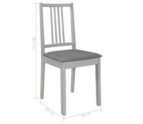 vidaXL Krzesła z poduszkami, 4 szt., szare, lite drewno[7/7]