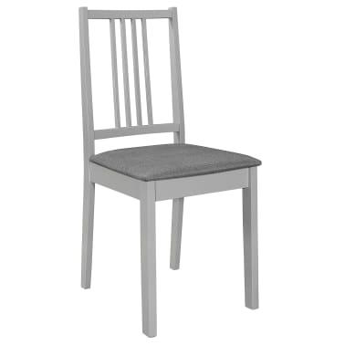 vidaXL Krzesła z poduszkami, 4 szt., szare, lite drewno[2/7]