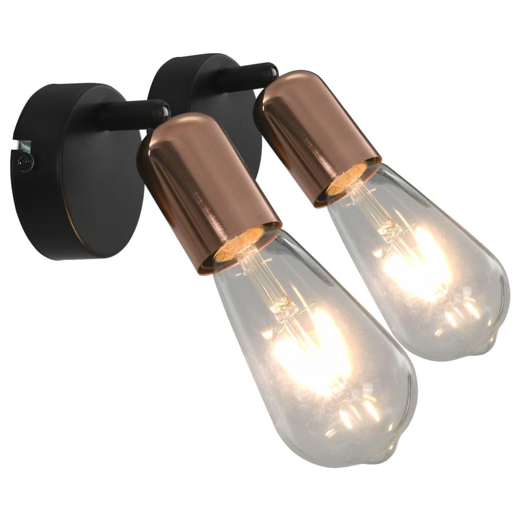 vidaXL Spotlights 2 st met filament peren 2 W E27 zwart en koper