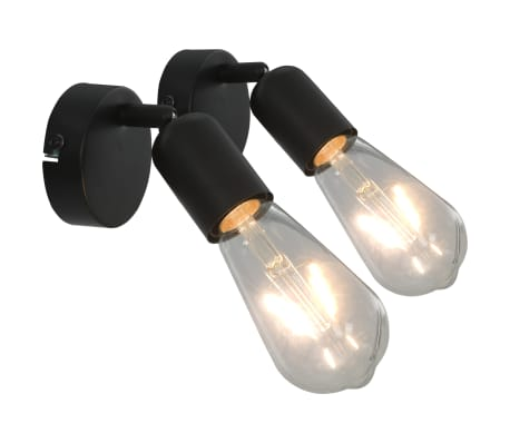 vidaXL Strahler 2 Stk. mit Glühlampen 2 W Schwarz E27