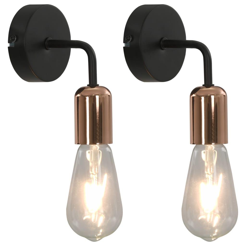 Comwinkel Wandlampen 2 st met filament peren 2 W E27 zwart en koper