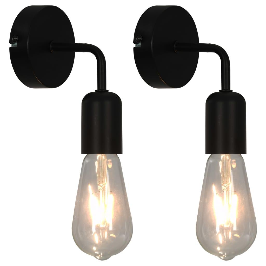 Nástěnná světla 2 ks se žhavicími žárovkami 2 W černá E27