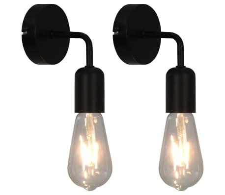 vidaXL Wandleuchten 2 Stk. mit Glühlampen 2 W Schwarz E27