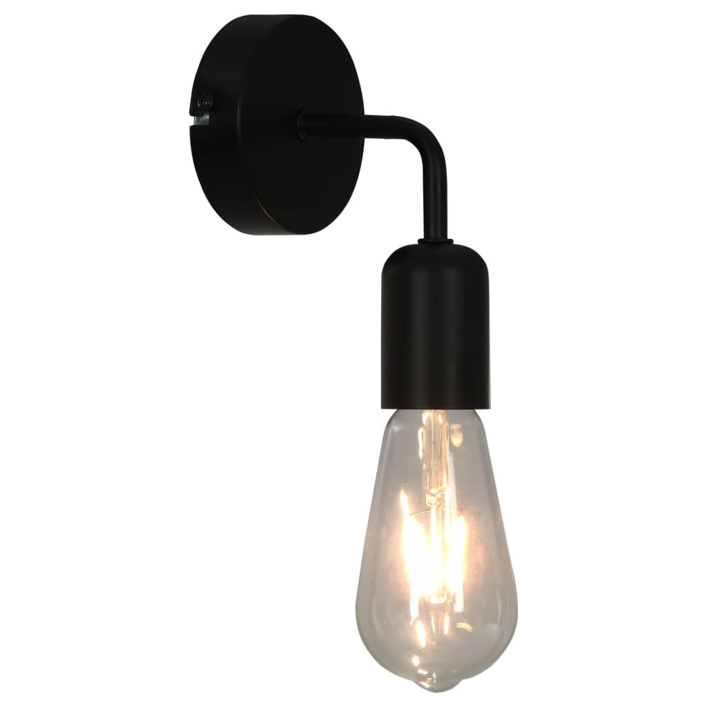 Comwinkel Wandlampen 2 st E27 zwart