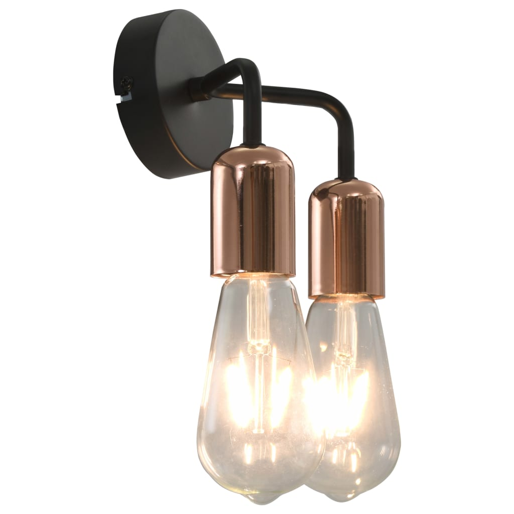 Comwinkel Wandlamp met filament peren 2 W E27 zwart en koper