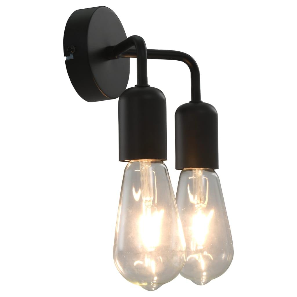 Nástěnné světlo se žhavicími žárovkami 2 W černé E27