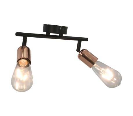 vidaXL 2-Wege-Spotlicht mit Glühlampen 2 W Schwarz und Kupfer E27