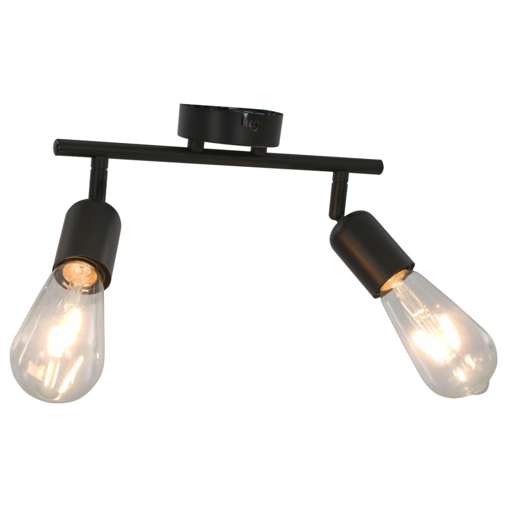 vidaXL 2směrné bodové světlo s žhavícími žárovkami 2 W černé E27
