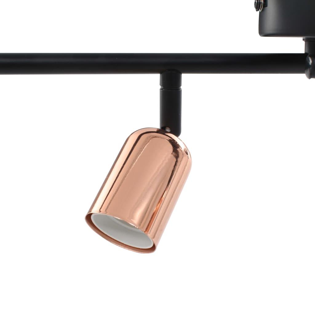 Spotlight 4-voudig met filament peren 2 W E27 60 cm zwart koper