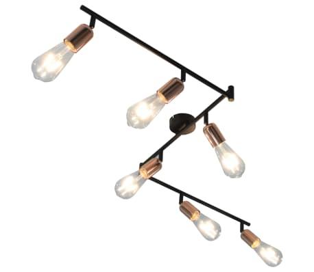 vidaXL 6-Wege Strahler mit Glühlampen 2 W Schwarz und Kupfer 30 cm E27