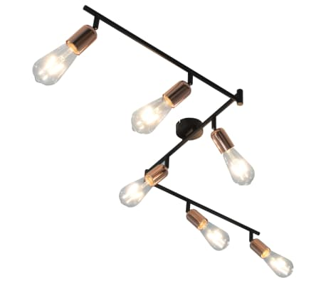 vidaXL 6-way Spot Light Black and Copper 30 cm E27