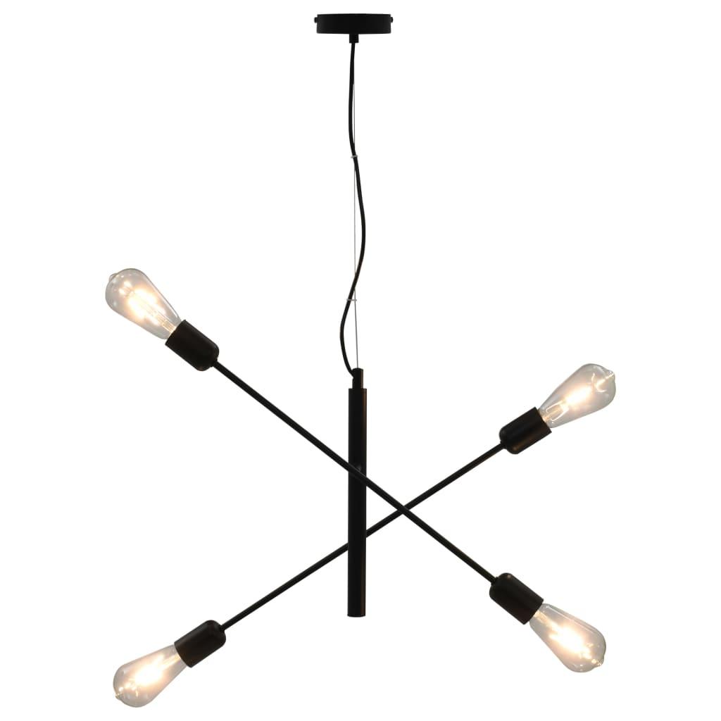 vidaXL Stropní světlo se žhavícími žárovkami 2 W černé E27