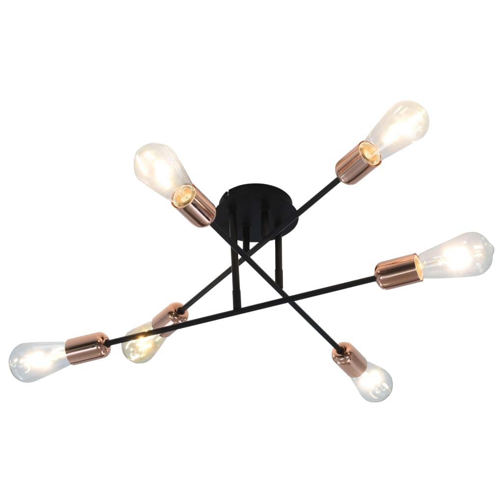 vidaXL Lustră cu becuri cu filament, negru și cupru, 2 W, E27 poza vidaxl.ro