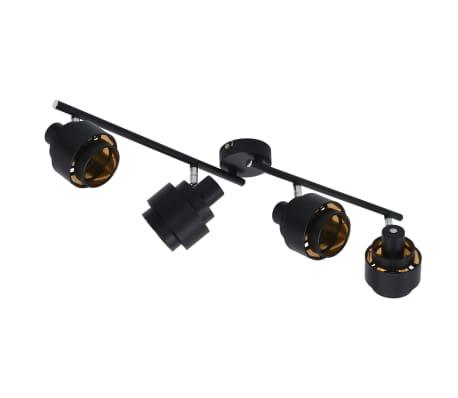vidaXL Projecteur à 4 voies Noir E14[2/6]
