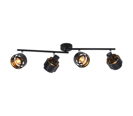 vidaXL Projecteur à 4 voies Noir E14[3/6]