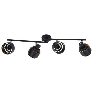 vidaXL Projecteur à 4 voies Noir E14[4/6]