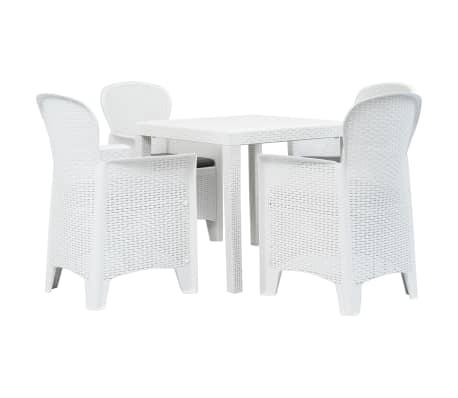 vidaXL 5 Piece Outdoor Dining Set Plastic White Rattan Look