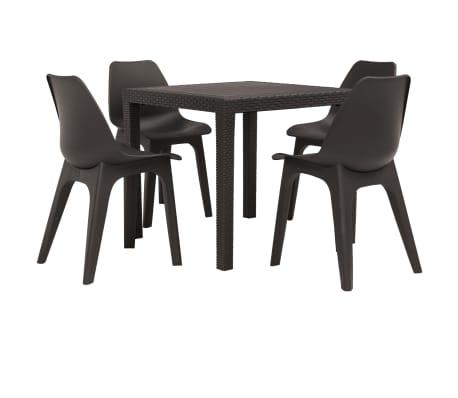 vidaXL Set mobilier de exterior, 5 piese, maro, plastic