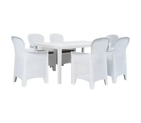 vidaXL 7 Piece Outdoor Dining Set Plastic White Rattan Look