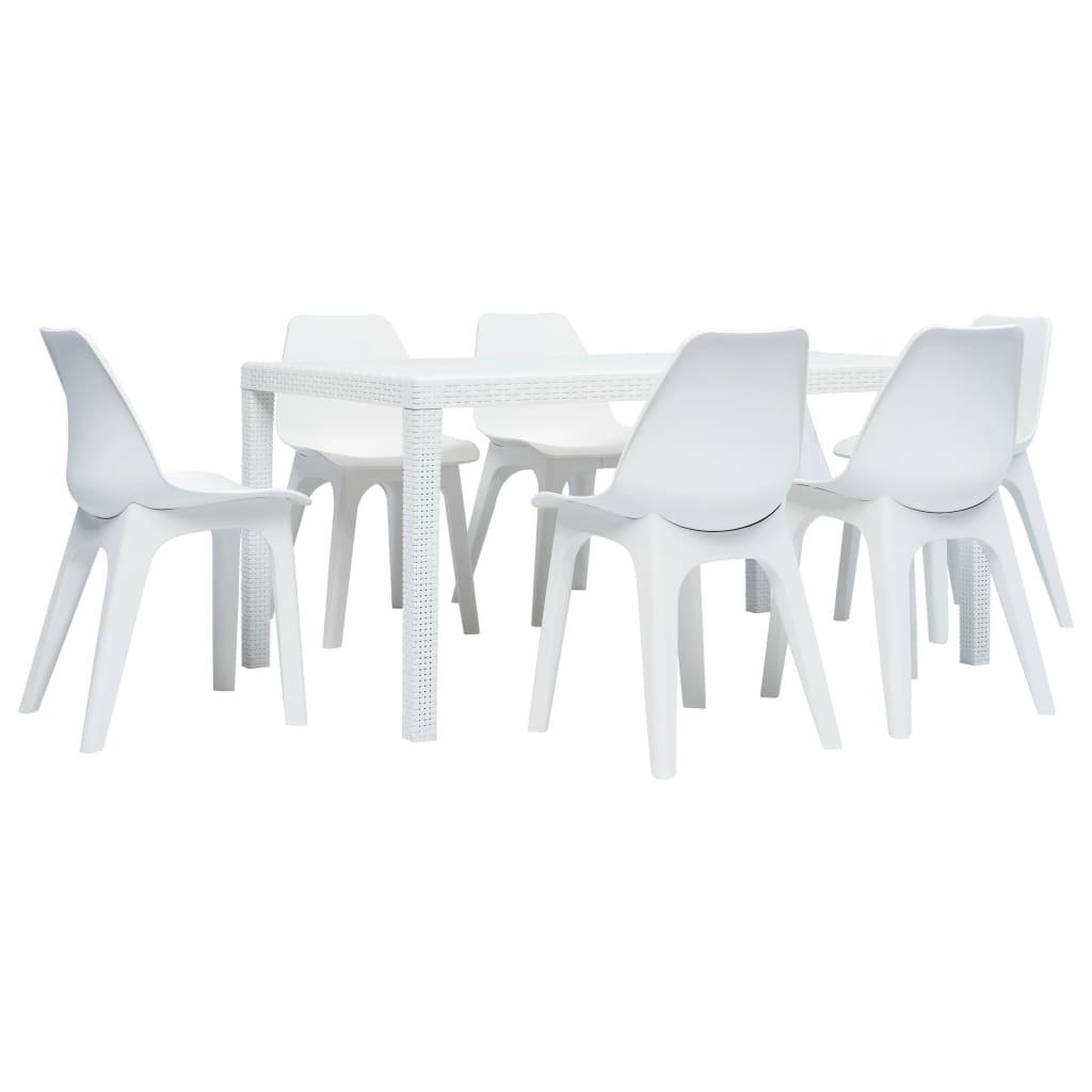 vidaXL 7-częściowy zestaw mebli ogrodowych z plastiku, biały