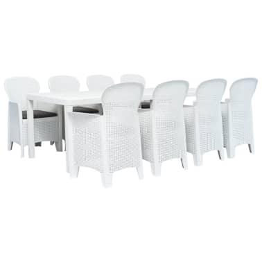 Set Da Giardino In Rattan Bianco.Vidaxl Set Pranzo Da Giardino 9 Pz In Plastica Stile Rattan Bianco